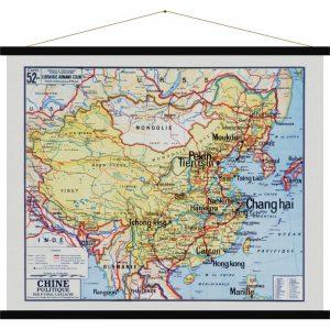 Carte Murale Scolaire En Tissu Chine