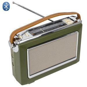 radio vintage bluetooth kaki seventies retro